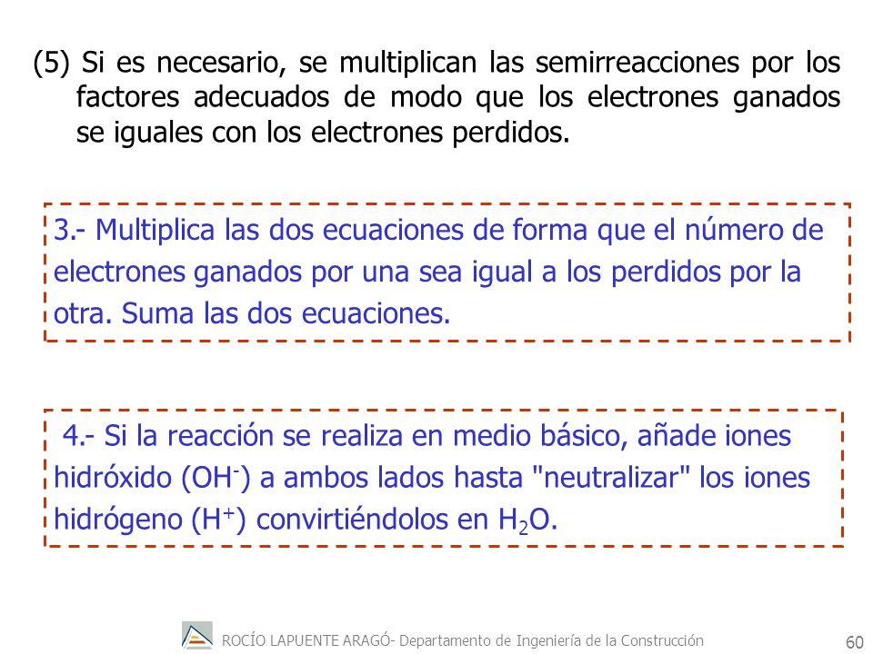 (5) Si es necesario, se multiplican las semirreacciones por los factores adecuados de modo que los electrones ganados se iguales con los electrones perdidos.