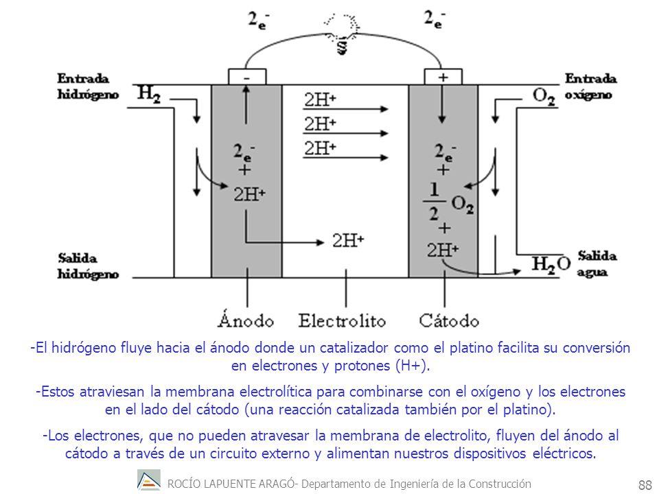 -El hidrógeno fluye hacia el ánodo donde un catalizador como el platino facilita su conversión en electrones y protones (H+).