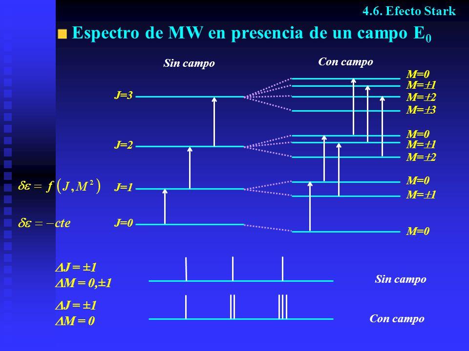 Espectro de MW en presencia de un campo E0