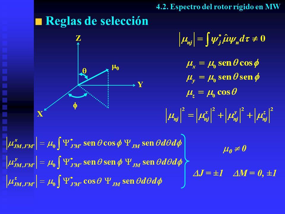 Reglas de selección 0  0 J = ±1 M = 0, ±1