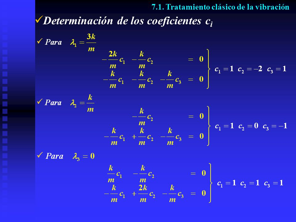 Determinación de los coeficientes ci