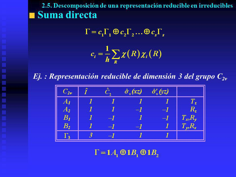 2.5. Descomposición de una representación reducible en irreducibles