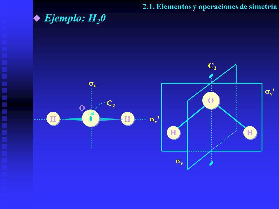 Ejemplo: H20 2.1. Elementos y operaciones de simetría C2 v v O C2 O