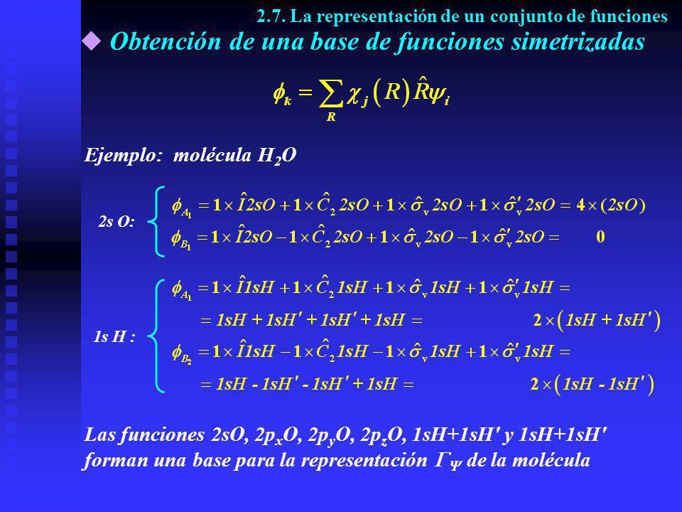 Obtención de una base de funciones simetrizadas