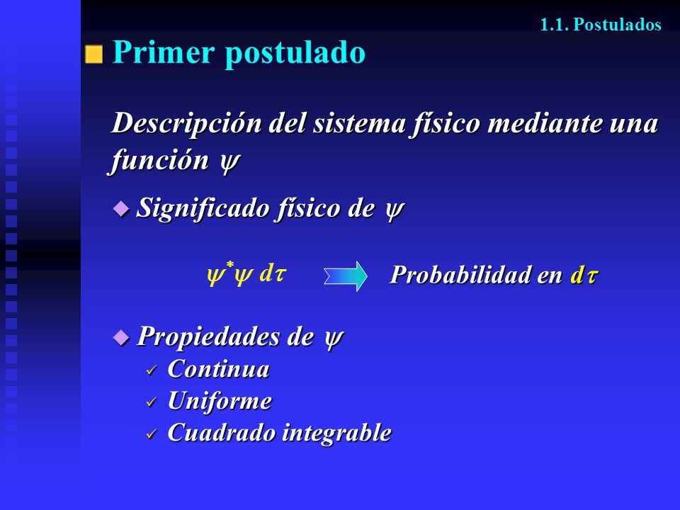 Primer postulado Descripción del sistema físico mediante una función 
