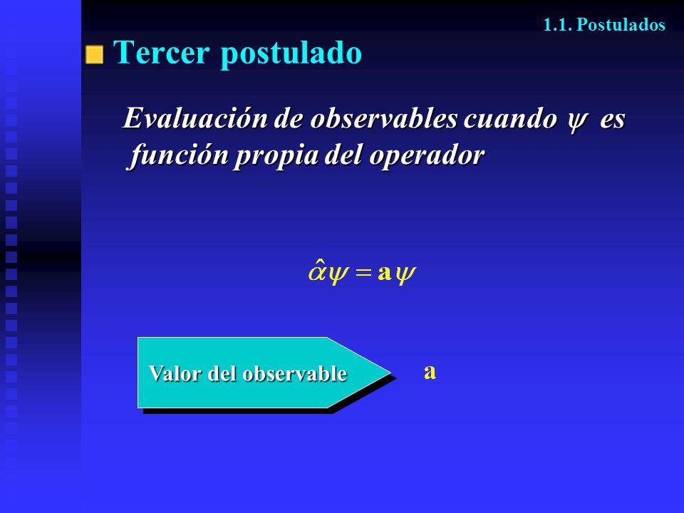 Tercer postulado Evaluación de observables cuando  es