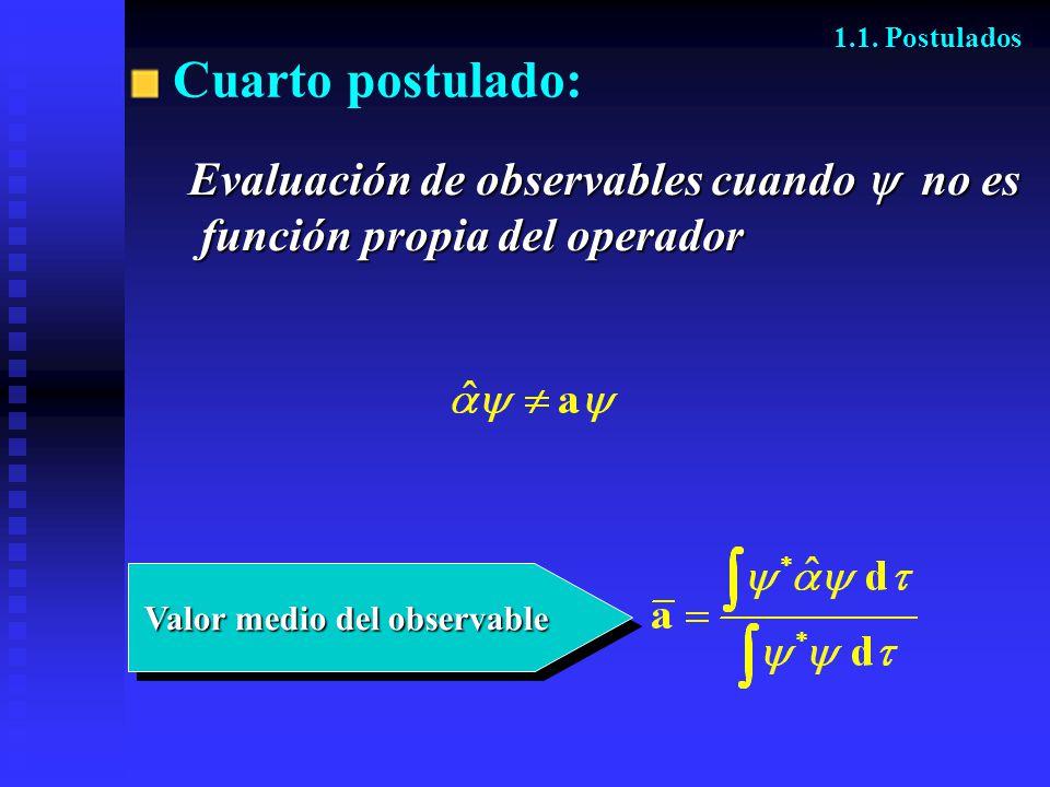 Cuarto postulado: Evaluación de observables cuando  no es