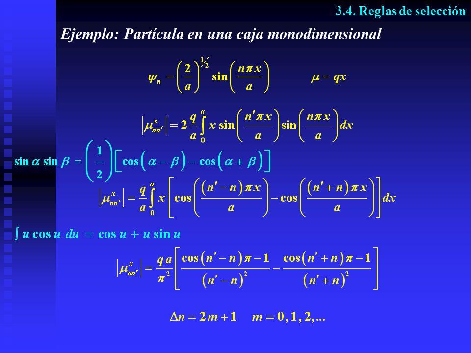 Ejemplo: Partícula en una caja monodimensional