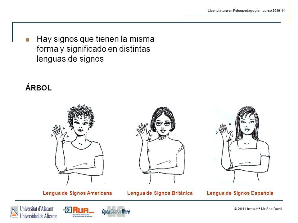 Hay signos que tienen la misma forma y significado en distintas lenguas de signos