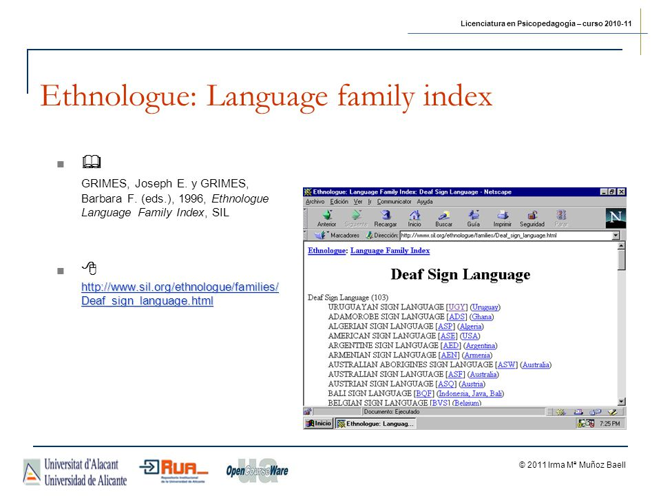 Ethnologue: Language family index
