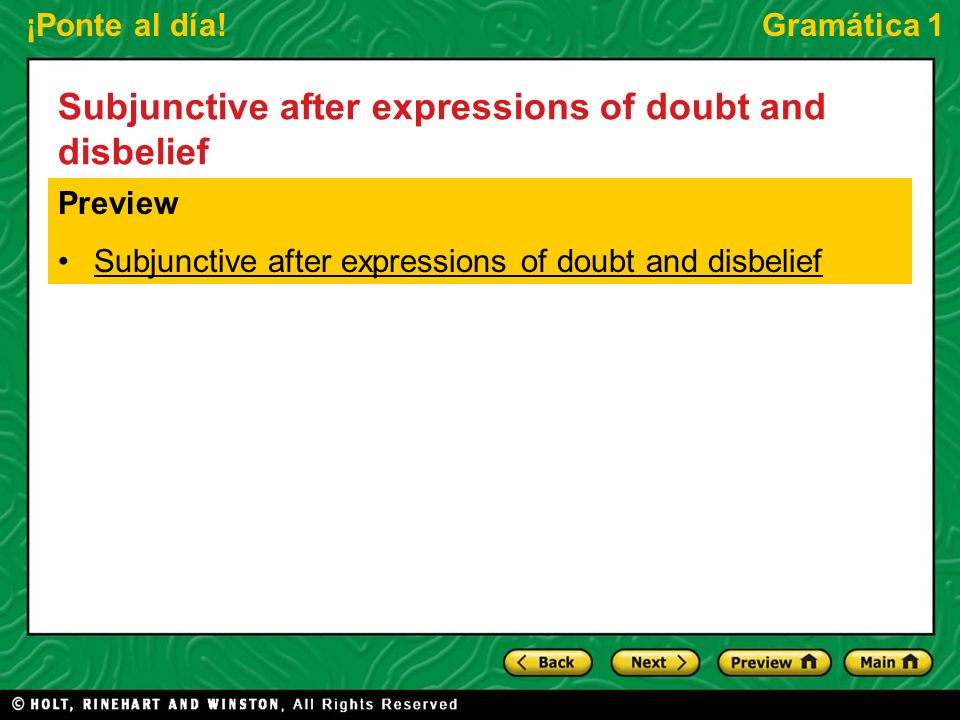 Subjunctive after expressions of doubt and disbelief