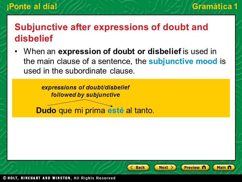 expressions of doubt/disbelief followed by subjunctive