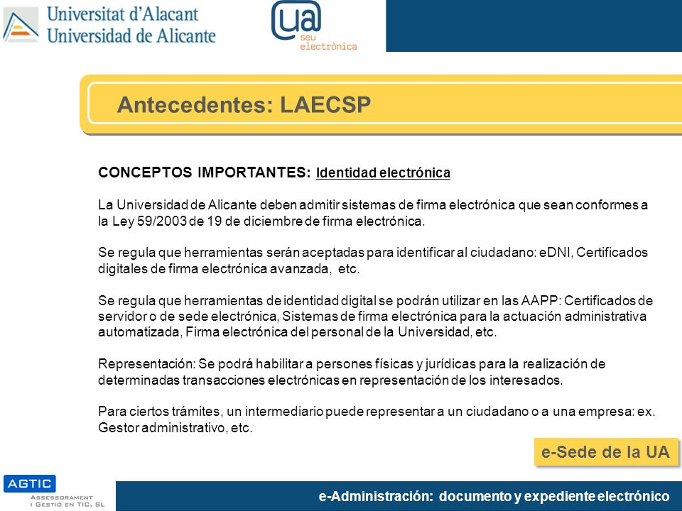 Antecedentes: LAECSP e-Sede de la UA