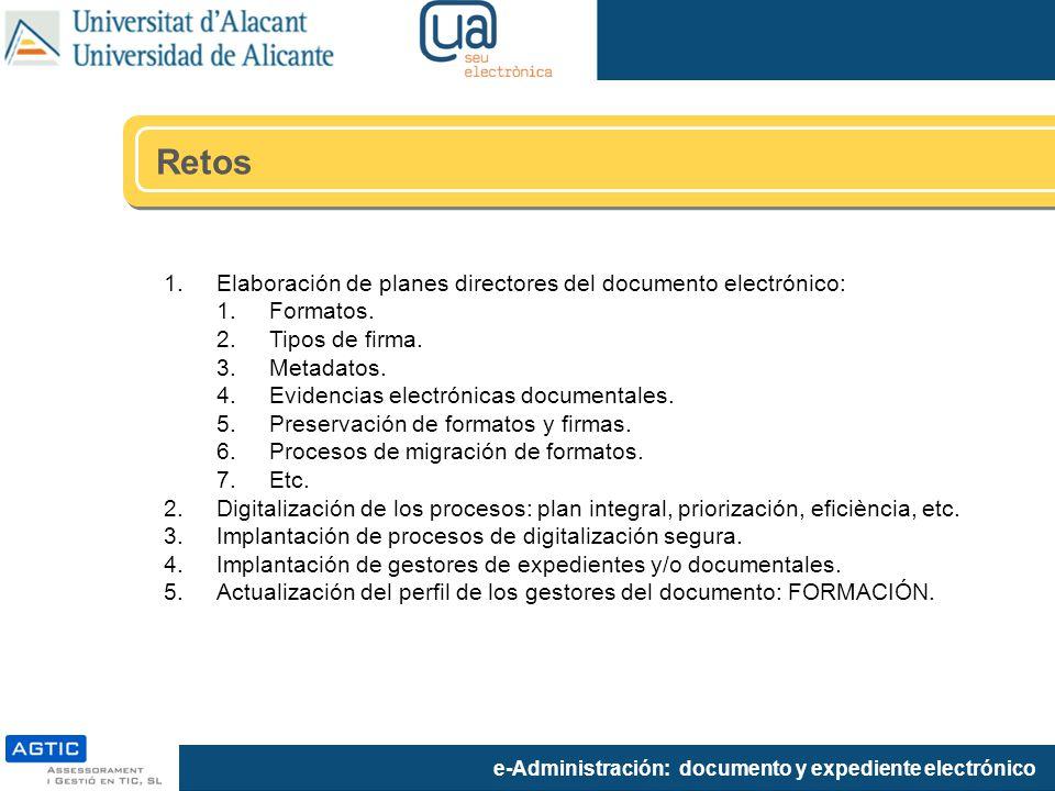 Retos Elaboración de planes directores del documento electrónico: