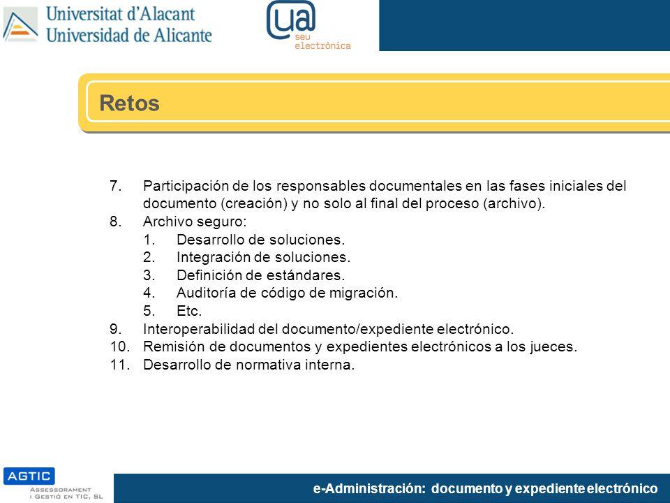 Retos Participación de los responsables documentales en las fases iniciales del documento (creación) y no solo al final del proceso (archivo).
