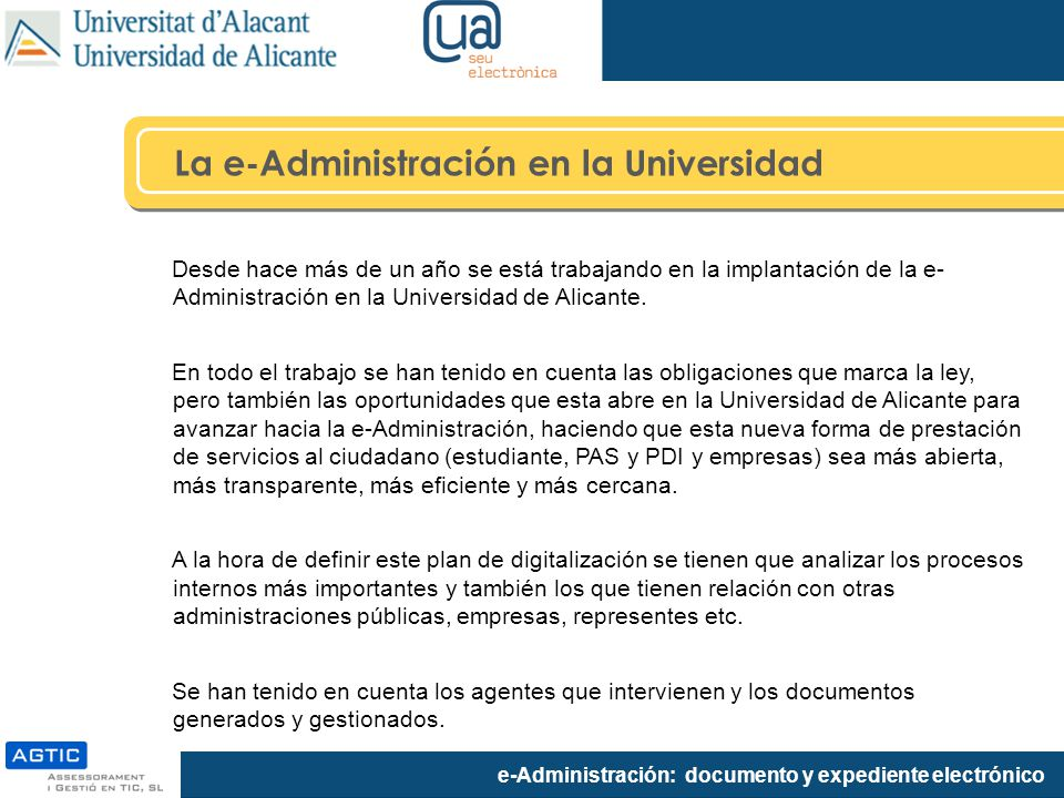 La e-Administración en la Universidad