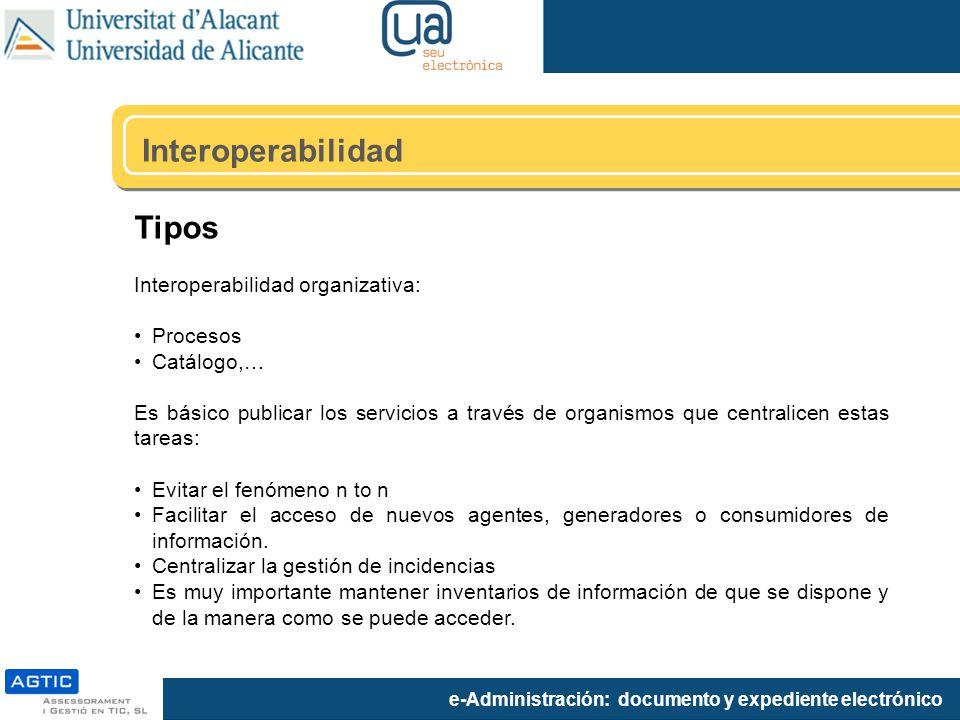 Interoperabilidad Tipos Interoperabilidad organizativa: Procesos