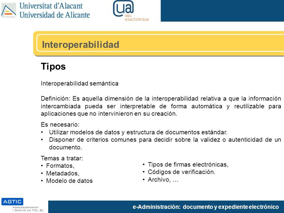 Interoperabilidad Tipos Interoperabilidad semántica