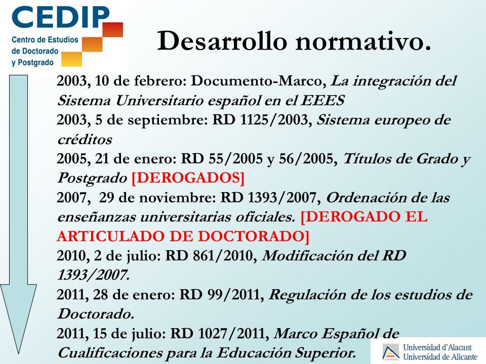 Desarrollo normativo. 2003, 10 de febrero: Documento-Marco, La integración del Sistema Universitario español en el EEES.