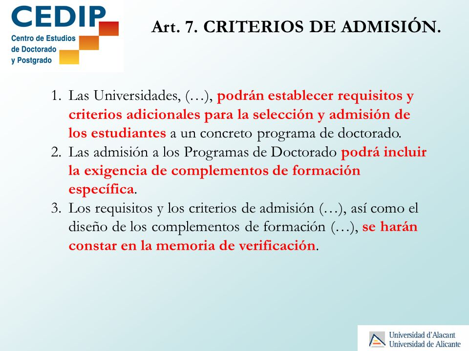 Art. 7. CRITERIOS DE ADMISIÓN.