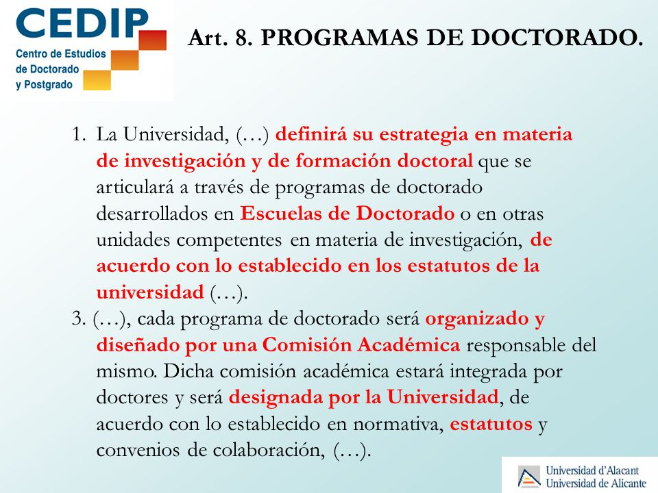 Art. 8. PROGRAMAS DE DOCTORADO.