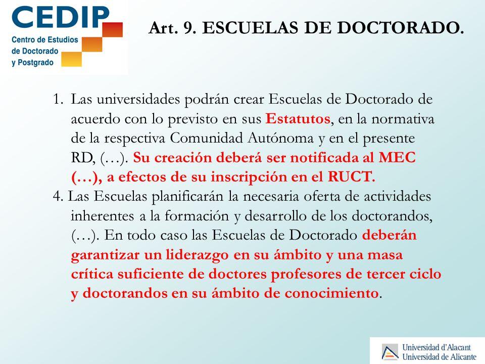 Art. 9. ESCUELAS DE DOCTORADO.