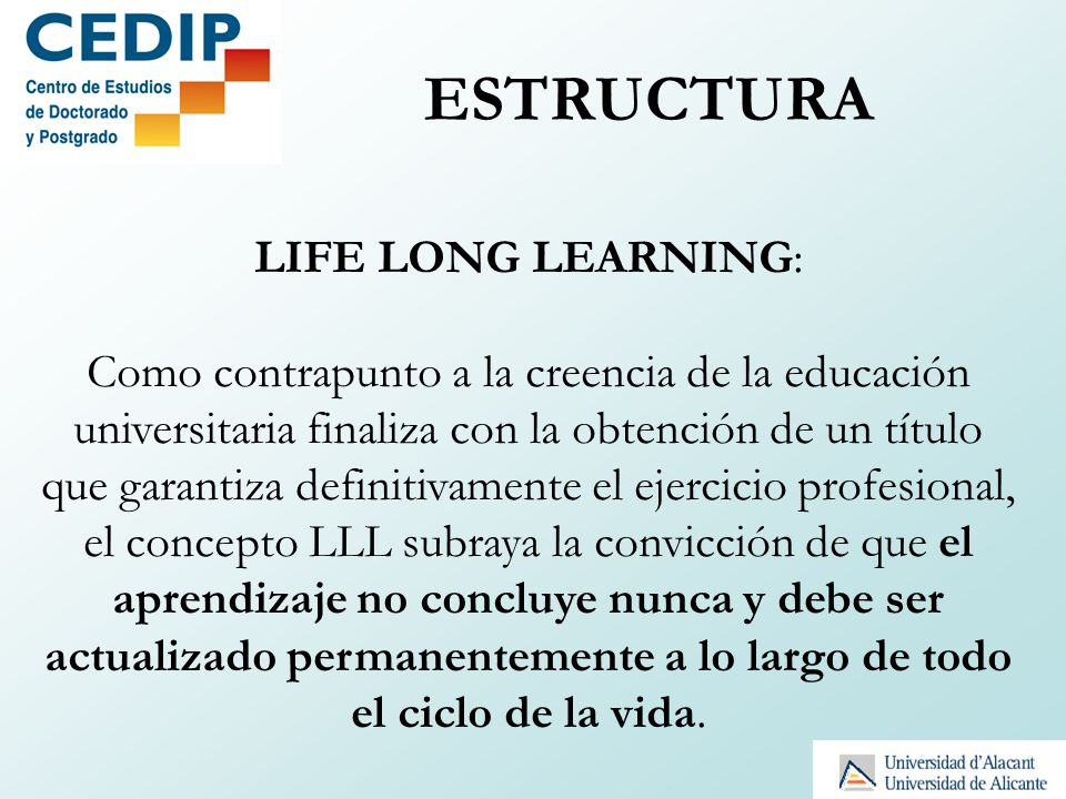 ESTRUCTURA LIFE LONG LEARNING: