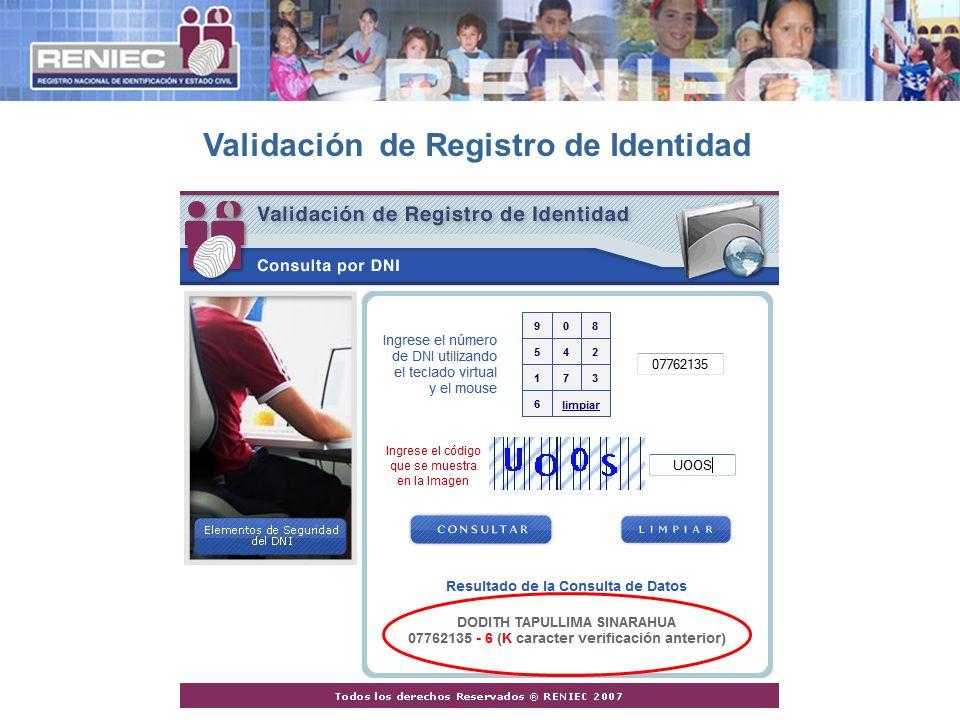 Validación de Registro de Identidad