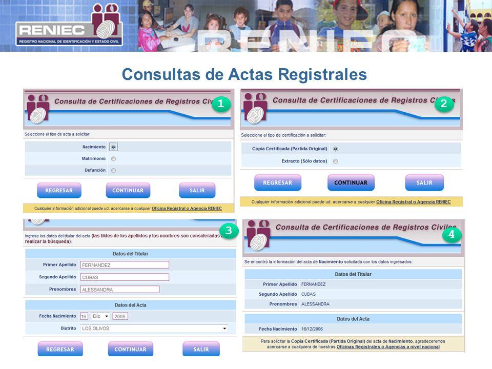 Consultas de Actas Registrales