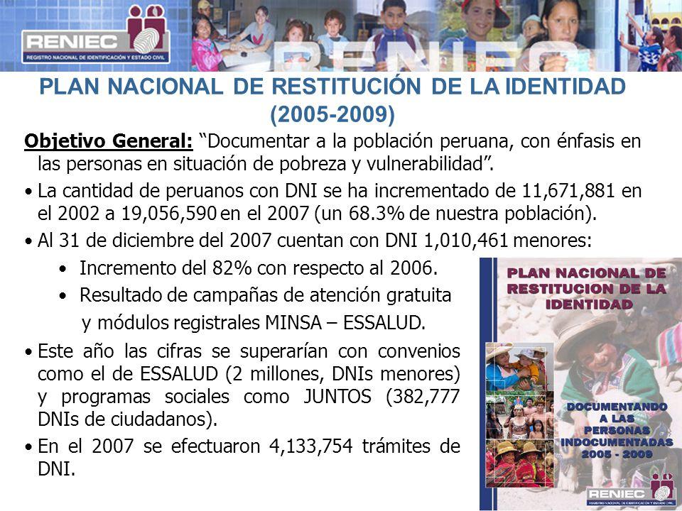 PLAN NACIONAL DE RESTITUCIÓN DE LA IDENTIDAD (2005-2009)