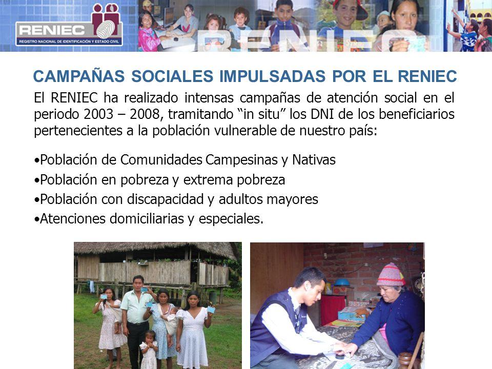 CAMPAÑAS SOCIALES IMPULSADAS POR EL RENIEC