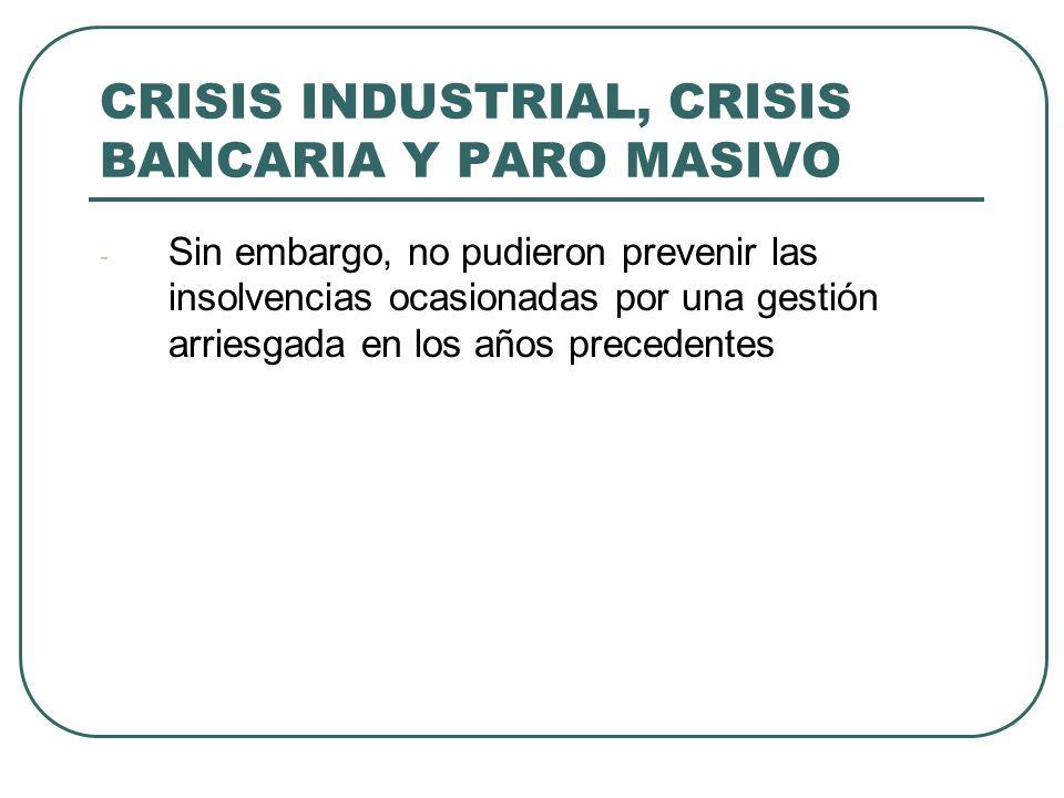 CRISIS INDUSTRIAL, CRISIS BANCARIA Y PARO MASIVO