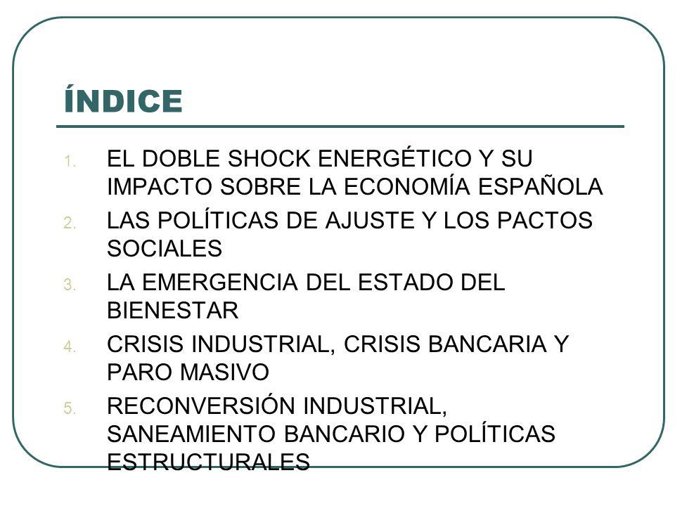 ÍNDICE EL DOBLE SHOCK ENERGÉTICO Y SU IMPACTO SOBRE LA ECONOMÍA ESPAÑOLA. LAS POLÍTICAS DE AJUSTE Y LOS PACTOS SOCIALES.