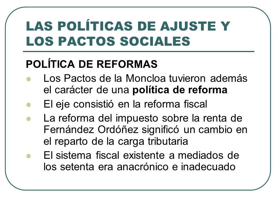 LAS POLÍTICAS DE AJUSTE Y LOS PACTOS SOCIALES