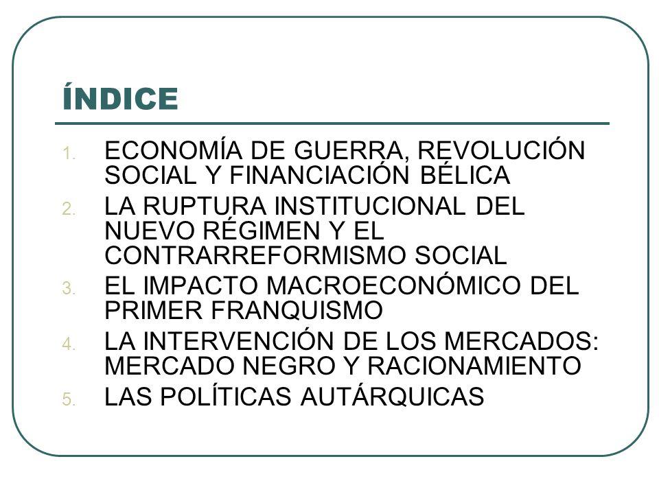 ÍNDICE ECONOMÍA DE GUERRA, REVOLUCIÓN SOCIAL Y FINANCIACIÓN BÉLICA