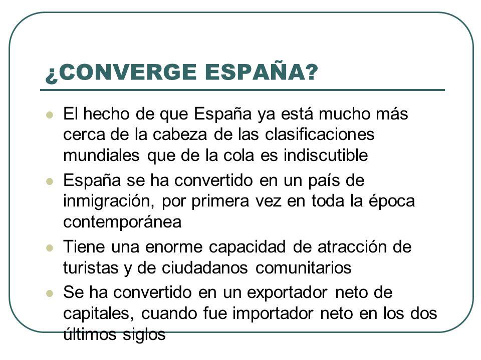 ¿CONVERGE ESPAÑA El hecho de que España ya está mucho más cerca de la cabeza de las clasificaciones mundiales que de la cola es indiscutible.