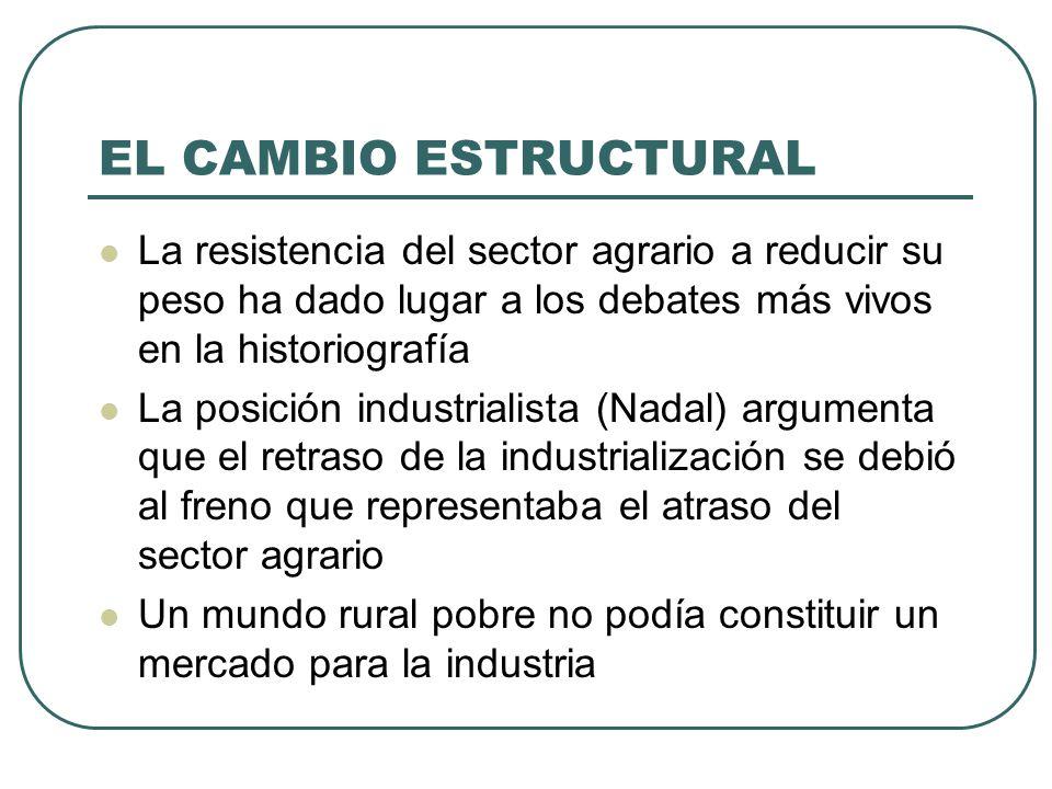 EL CAMBIO ESTRUCTURAL La resistencia del sector agrario a reducir su peso ha dado lugar a los debates más vivos en la historiografía.