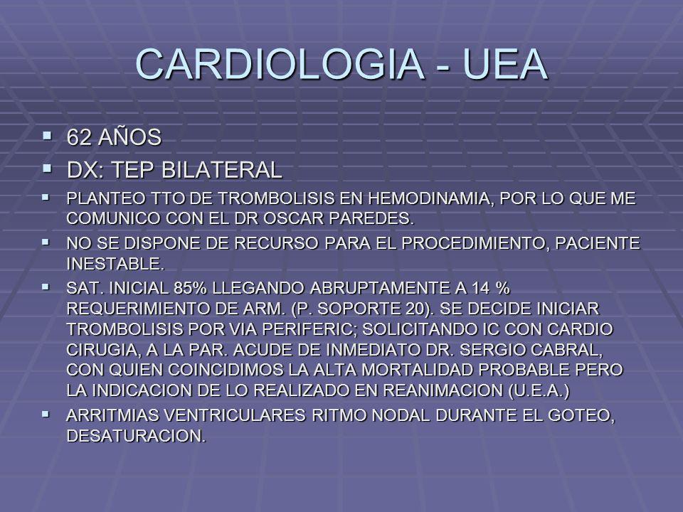 CARDIOLOGIA - UEA 62 AÑOS DX: TEP BILATERAL