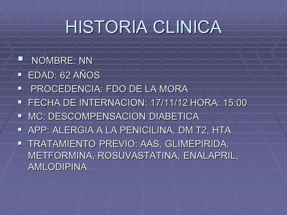 HISTORIA CLINICA NOMBRE: NN EDAD: 62 AÑOS PROCEDENCIA: FDO DE LA MORA