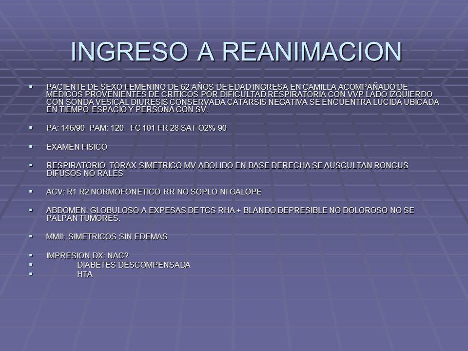 INGRESO A REANIMACION