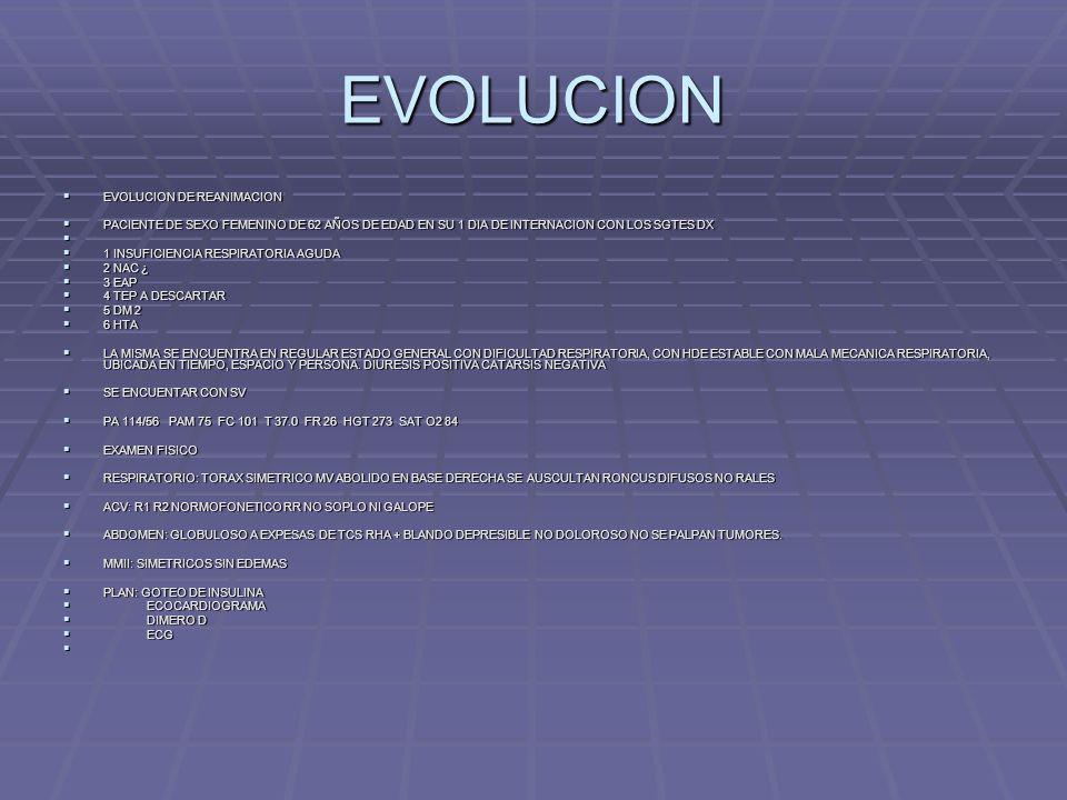 EVOLUCION EVOLUCION DE REANIMACION
