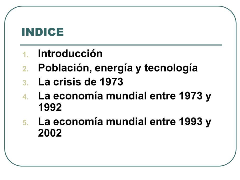 INDICE Introducción Población, energía y tecnología La crisis de 1973