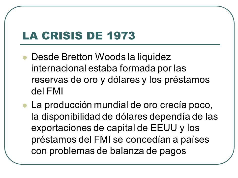 LA CRISIS DE 1973 Desde Bretton Woods la liquidez internacional estaba formada por las reservas de oro y dólares y los préstamos del FMI.