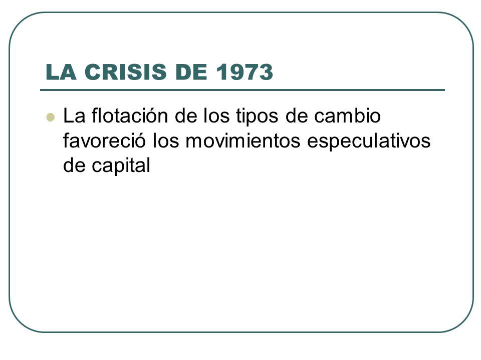 LA CRISIS DE 1973 La flotación de los tipos de cambio favoreció los movimientos especulativos de capital.
