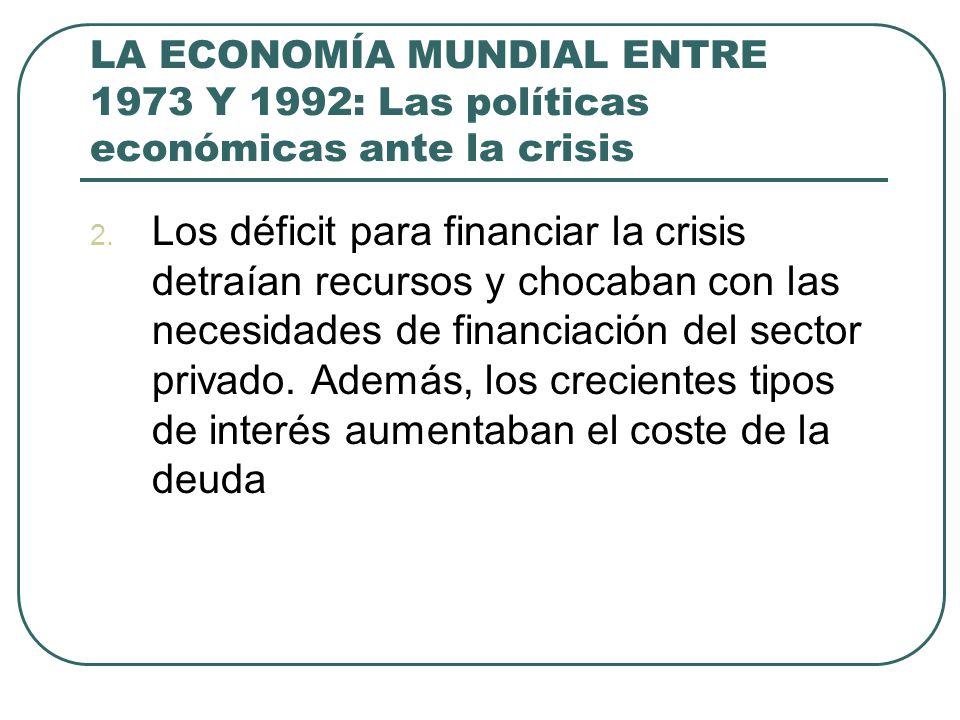 LA ECONOMÍA MUNDIAL ENTRE 1973 Y 1992: Las políticas económicas ante la crisis