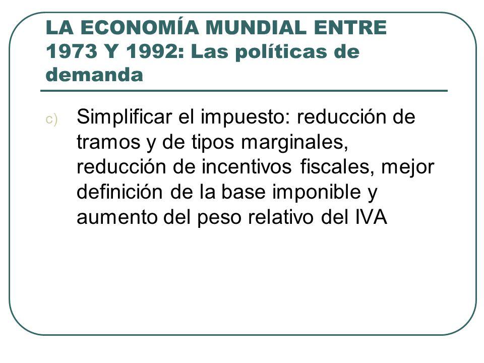 LA ECONOMÍA MUNDIAL ENTRE 1973 Y 1992: Las políticas de demanda