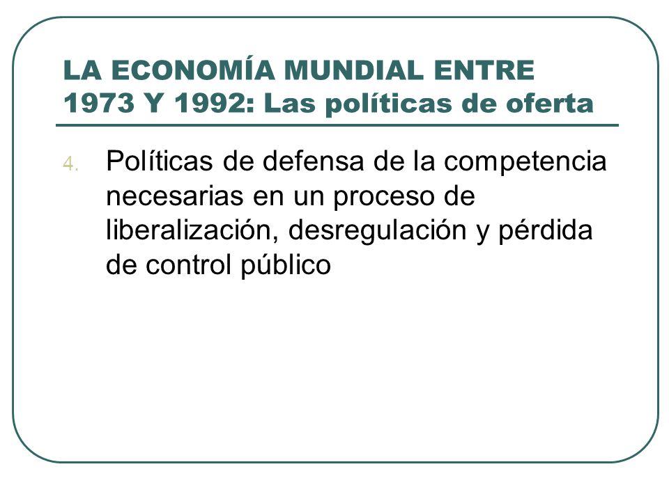 LA ECONOMÍA MUNDIAL ENTRE 1973 Y 1992: Las políticas de oferta