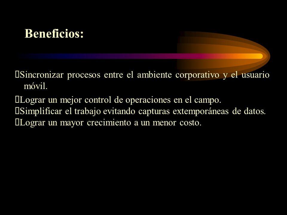 Beneficios: ØSincronizar procesos entre el ambiente corporativo y el usuario móvil. ØLograr un mejor control de operaciones en el campo.