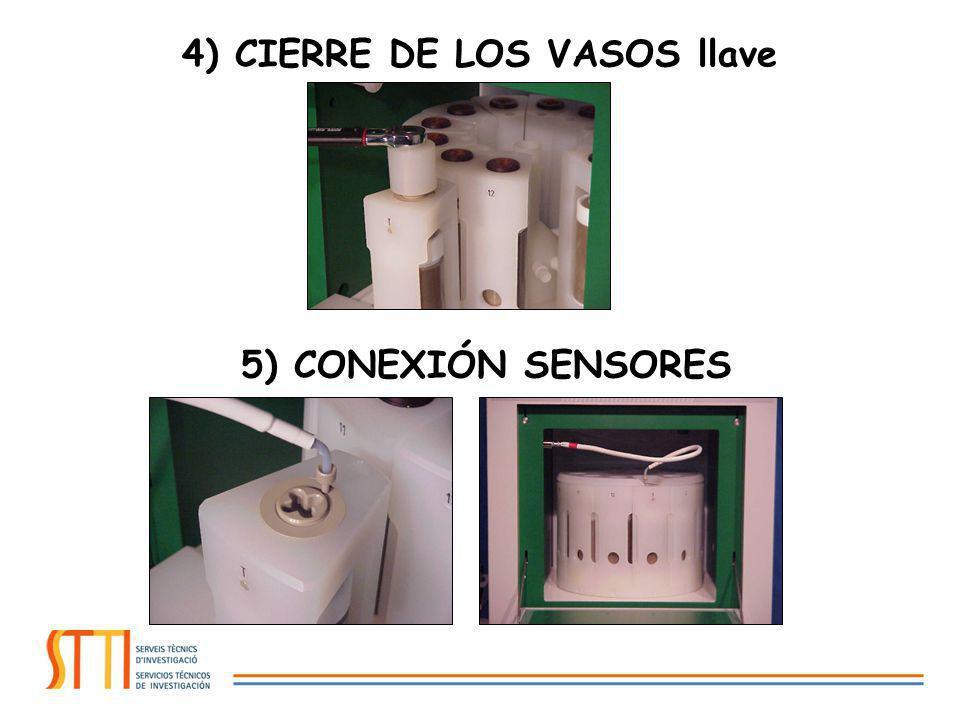 4) CIERRE DE LOS VASOS llave