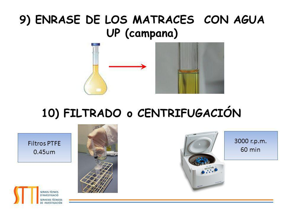 9) ENRASE DE LOS MATRACES CON AGUA UP (campana)